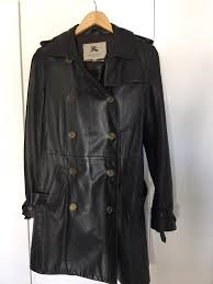las burberry leather trench coat