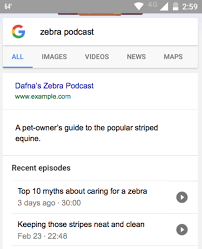 podcasts can be indexed and embedded in results which could be a particularly useful functionality for google home and smartphones