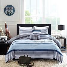 teen boys bedding rugby stripe blue gray white green full queen comforter 2 shams