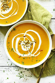 bowls of our creamy vegan curried ernut squash soup