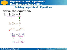 10 solving logarithmic equations