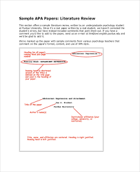 Sample Of Literature Review Apa Style Sample Literature Review 7 Documents In Pdf Word