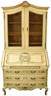french country secretaire writing desk louis xv cream led finish gold paint embellishment cross hatching on drawers