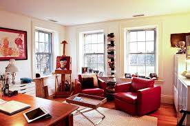 eclectic home office. Eclectic Home Office Uses Plush Leather Chairs To Bring In A Dash Of Red Eclectic Home Office