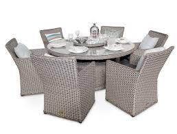 6 seater rattan round garden dining table set