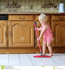 Kitchen Floor Mop Toddler Girl Mopping Kitchen Floor Stock Photo Image 45323247