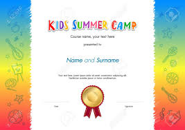 Kids Certificate Border Kids Summer Camp Diploma Or Certificate Template Award Seal With