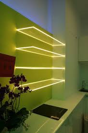 glass shelf lighting. Floating Glass Shelves With LED Light Strips Create A Stunning Source, Perfect For Shelf Lighting G