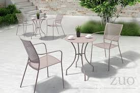 Oz round outdoor dining table in taupe powder coated metal outdoor dining tables alan