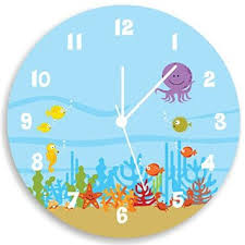 Kids Room Ideas : Jellyfish Nice Clock For Kids Room Starfish Crab Fish  Plant Fugo Number
