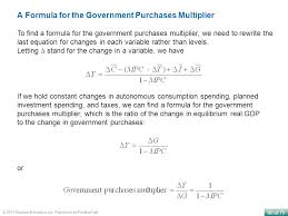 a formula for the government purchases multiplier