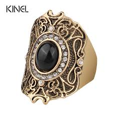 <b>Turkey Jewelry</b> Unique Ancient Gold Color <b>Black Ring</b> For Women ...
