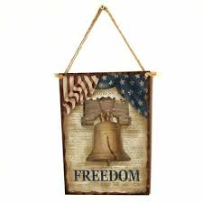 <b>Vintage Wooden Hanging Plaque</b> Bell Freedom Sign Board Wall ...
