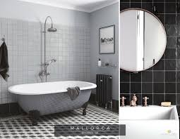 vintage style bathroom with handmade and painted look wall tiles intended for tile prepare furniture