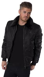kangol mens jacket coat black faux fur collar