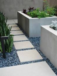 garden design with stone paving and gravel