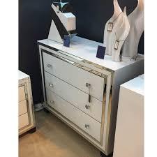 white 3 drawer chest. White Glass And Mirrored New York 3 Drawer Chest