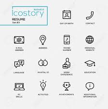 set of modern vector plain simple thin line design icons and set of modern vector plain simple thin line design icons and pictograms for your resume