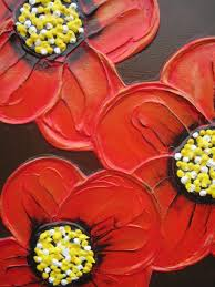 image of painting flowers on canvas