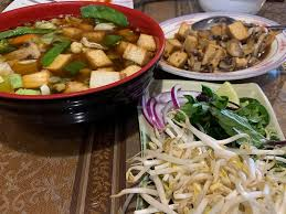 vegan pho and mushrooms with tofu at burma garden in bloomington