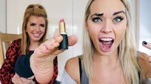 using her feet to do my makeup
