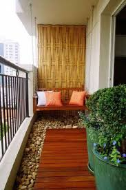 Balcony Decor Ideas With Rocks And Swing Also Unique Wall