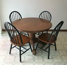 details about 42 round oak finish kitchen dining table set single pedestal 4 windsor chairs