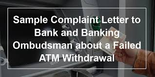 Sample Complaint Letter To Bank And Banking Ombudsman About A Failed