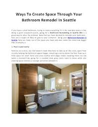 Ways To Create Space Through Your Bathroom Remodel In Seattle Cool Seattle Bathroom Remodeling Interior