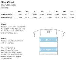 Small T Shirt Size Chart Size Charts Dirty Coast Press