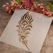 Diy scrapbook plastic painting drawing& color spray painted feather design  painting brushes stencils water brush drawing