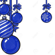 Blue Ribbon Template Blue Christmas Balls With Blue Ribbon And Bows Sketch Style Stock