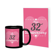 32nd marriage anniversary gift printed coffee mug with greeting card