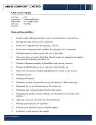 Chef Job Description Resume Sous Chef Job Description For Resume Samplebusinessresume 9