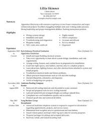 apprentice electrician sample resume heavy equipment operator