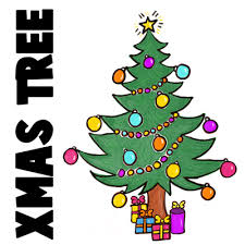 christmas tree with presents drawing.  Christmas How To Draw A Christmas Tree With Gifts U0026 Presents Under It Intended With Drawing