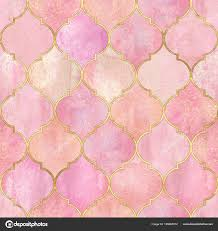Light Pink And Gold Wallpaper Vintage Decorative Moroccan Seamless Pattern Gold Line