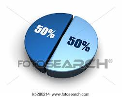 50 Percent Pie Chart Blue Pie Chart 50 50 Percent Stock Illustration K5280214
