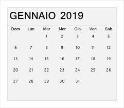 Calendario Gennaio 2019 Da Stampare
