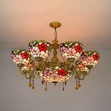 stained glass flower chandelier living