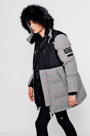 check contrast puffer with faux fur hood black