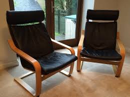 2 ikea poang chairs with black leather cushions as new ikea poang black leather chair