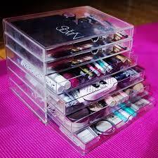 homdox clear acrylic cosmetic organizer makeup case sundry storage makeup organizer organizador 6 drawer