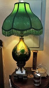 vintage murano glass table lamp with gold overlay