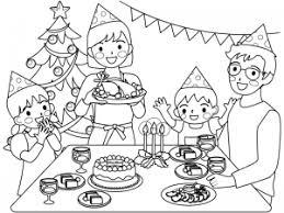 クリスマスパーティーをしている家族のぬりえ線画イラスト素材