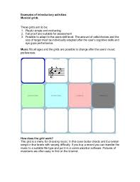 Examples Of Introductory Activities Musical Grids These Cogain