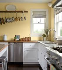 yellow kitchen with white cabinets