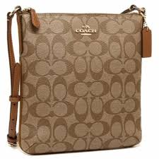Coach North South Crossbody Small Sling Bag Signature - Brown