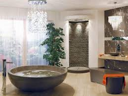 Bathroom:Unique Bathroom Decor Idea With Round Bathtub And Stone Walk In  Shower Walls Some