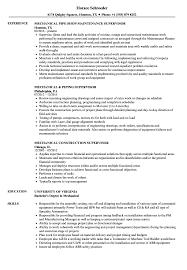 Mechanical Supervisor Resume Sample Supervisor Mechanical Resume Samples Velvet Jobs 2
